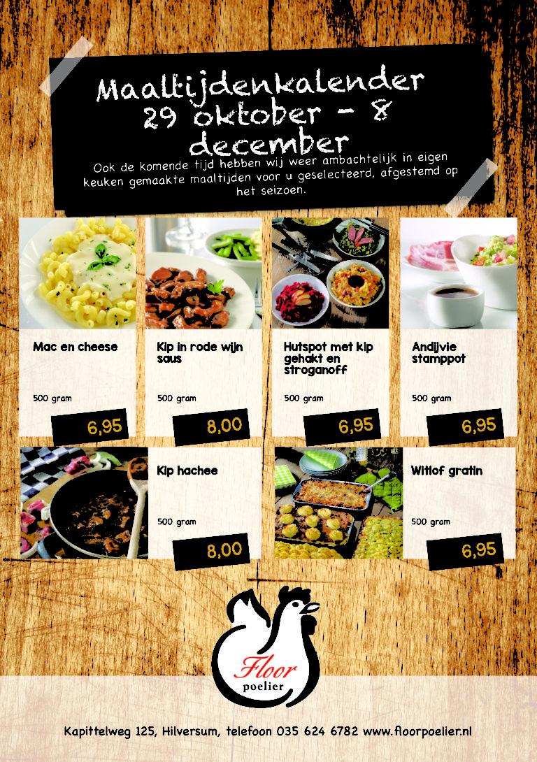 maaltijden kalender 29 okt-8 dec 2018 - Floor Poelier